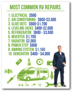 Most Common RV Repair Cost Chart